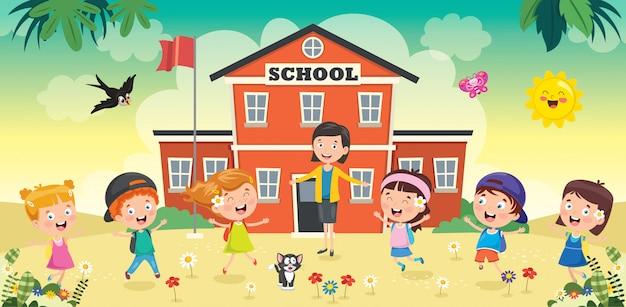 Kleine studenten met hun leraar