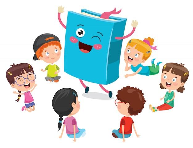 Kleine studenten spelen met boek