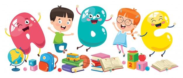 Kleine studenten studeren en lezen