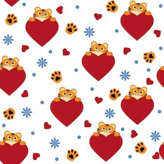 Kleine tijgers patroon, kleur vector geïsoleerde cartoon-stijl illustratie.