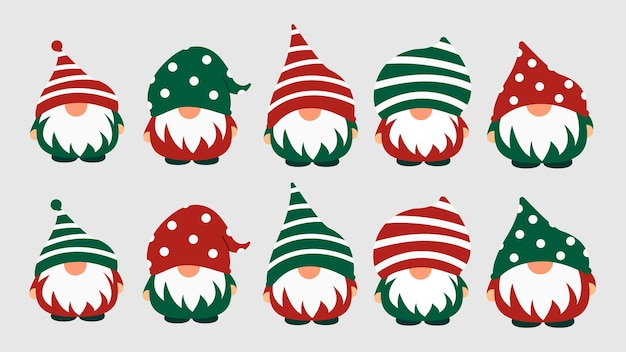 Kleine tuin schattige kabouters en elfjes in cartoon-stijl. karakteristieke feeën voor kinderen en kinderen. kawaii gnome en magische elf ontwerp. vector illustratie.