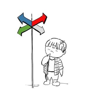 Kleine vette jongen in twijfel, moeten kiezen tussen juiste keuzes aangegeven door pijlen richting concept. cartoon hand getrokken schets vectorillustratie.
