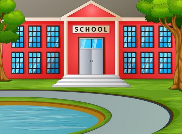 Kleine vijver voor het schoolgebouw