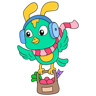 Kleine vliegende vogels die hoofdtelefoons gebruiken die boodschappen dragen, vectorillustratieart. doodle pictogram afbeelding kawaii.