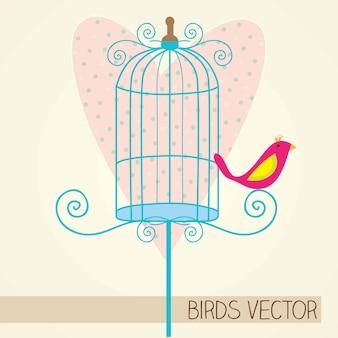 Kleine vogel met blauwe kooi en hart achtergrond