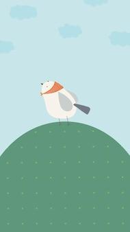 Kleine vogel op een groene heuvel mobiel behang