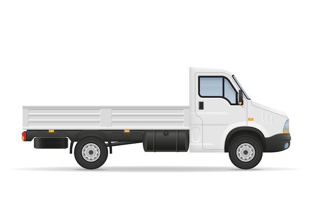 Kleine vrachtwagen van vrachtwagen voor het vervoer van vrachtgoederen op wit