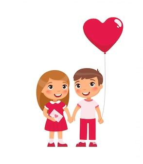 Kleine vriend en vriendin vieren valentijnsdag platte vectorillustraties.