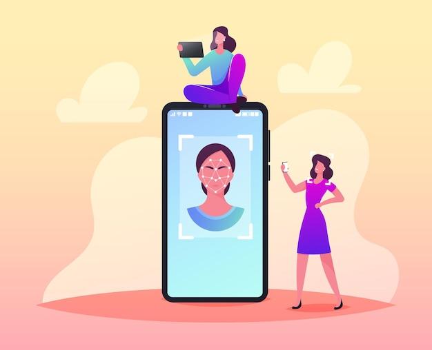Kleine vrouwelijke personages op enorme smartphone met vrouwengezicht met veelhoekig ornament voor gezichtsherkenning, biometrische identificatie
