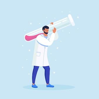 Kleine wetenschapper met enorme reageerbuis. chemisch laboratoriumonderzoek. apotheker die werkt aan de ontwikkeling van antivirale behandelingen. geneeskunde, apotheekconcept
