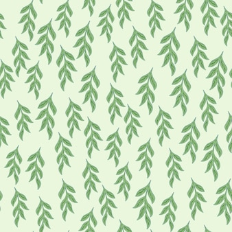 Kleine willekeurige groene takken ornament naadloze doodle patroon