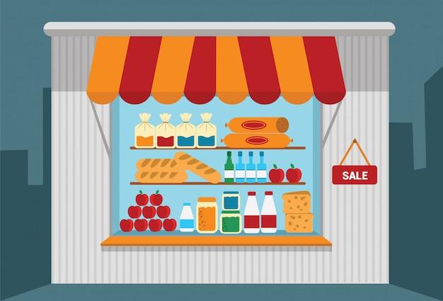 Kleine winkel met goederen.