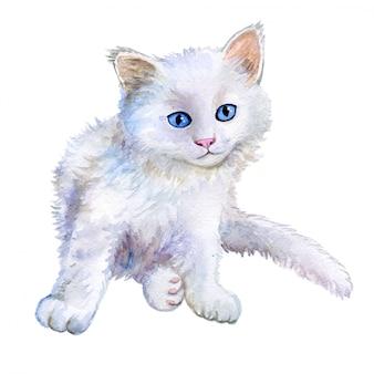 Kleine witte kitten in aquarel
