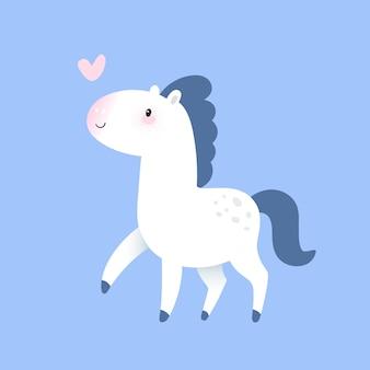 Kleine witte paardenpony