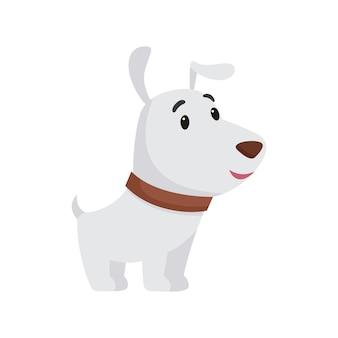 Kleine witte pup lacht