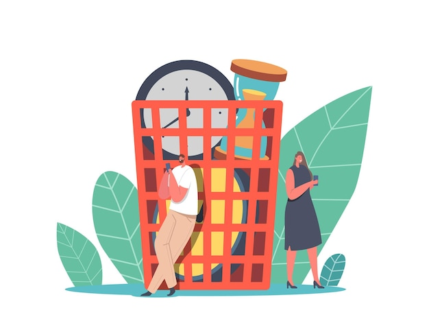 Kleine zakelijke personages inactief bij enorme mand met wekkers die tijd en geld verspillen, zakenlui luiheid, tijdmanagement, werkuitstel op de werkplek. cartoon mensen vectorillustratie