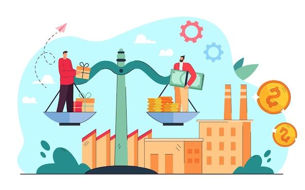 Kleine zakenlieden staan op gigantische schalen met geld en geschenken