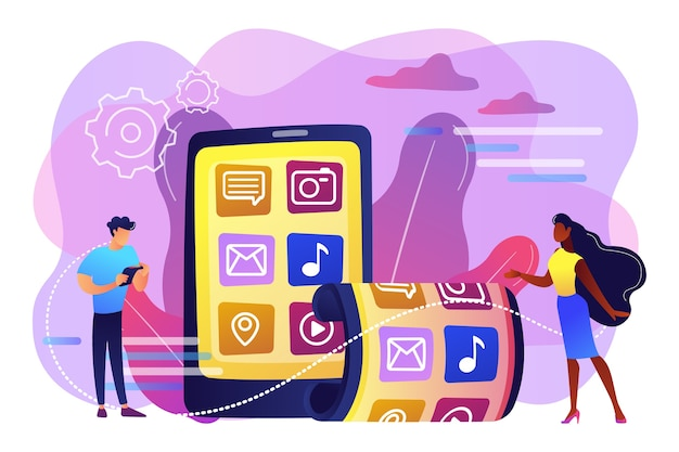 Kleine zakenmensen die smartphone met flexibel scherm gebruiken. opvouwbare smartphone, flexibele elektronische apparaten, nieuw technologietrendconcept. heldere levendige violet geïsoleerde illustratie