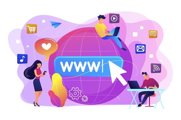 Kleine zakenmensen met digitale apparaten bij big globe die op internet surfen. internetverslaving, vervanging in het echte leven, levend online stoornisconcept. heldere levendige violet geïsoleerde illustratie