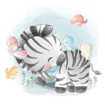 Kleine zebra speelt met vogels