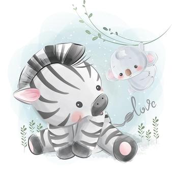 Kleine zebra zittend