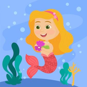 Kleine zeemeermin die een parel vindt