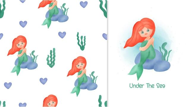 Kleine zeemeermin kaart en naadloos patroon