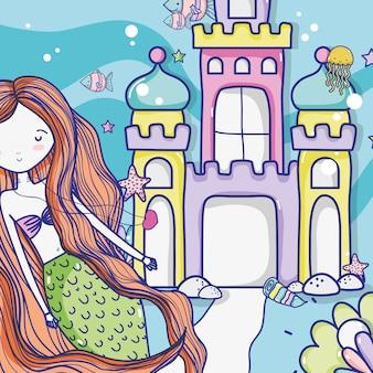 Kleine zeemeermin kunst cartoon