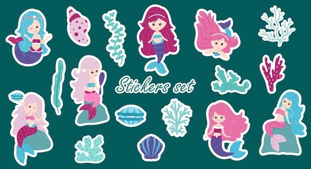 Kleine zeemeerminnen en elementen van de onderwaterwereld. aantal stickers. vectorbeeldverhaalstijl.