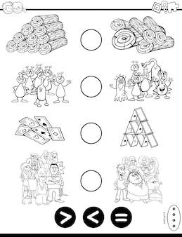 Kleiner of gelijk kleurboek voor spellen