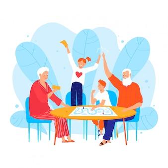 Kleinkind karakter mensen bezoeken grootouder, oude mannelijke vrouwelijke leuke kinderen geïsoleerd op wit, cartoon illustratie.