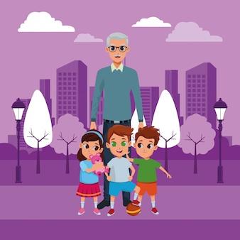 Kleinkinderen en grootvader van hand