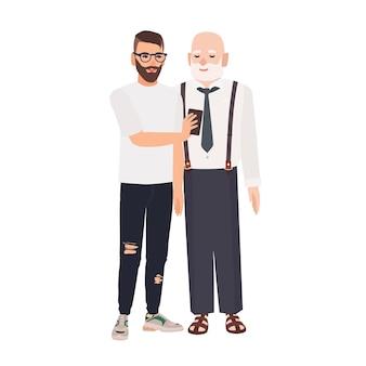 Kleinzoon demonstreert smartphone aan zijn grootvader