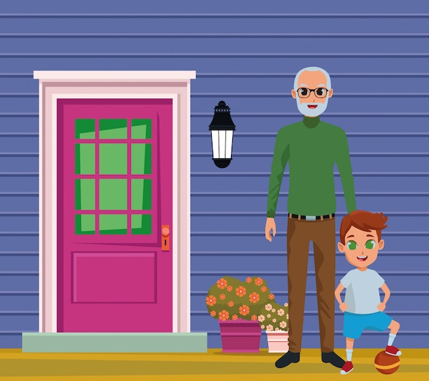 Kleinzoon en grootvader van hand