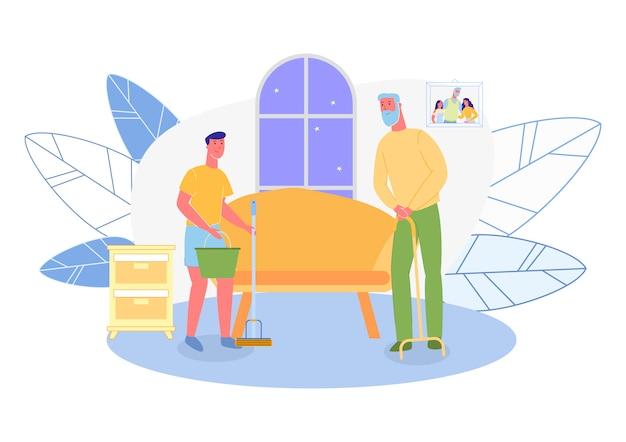 Kleinzoon, grootvader helpen met huishoudelijk werk