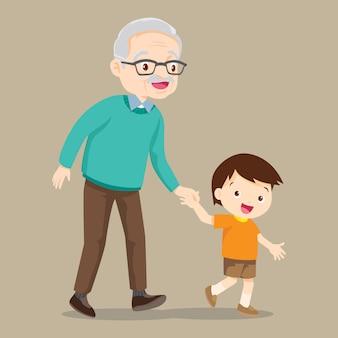 Kleinzoon loopt met zijn grootvader