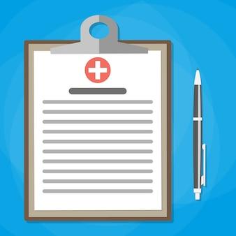 Klembord en pen medisch rapport analyse