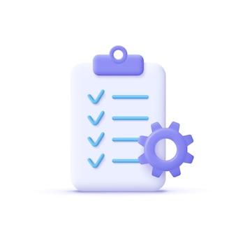 Klembord en versnelling pictogram project management software ontwikkelingsconcept 3d vectorillustratie