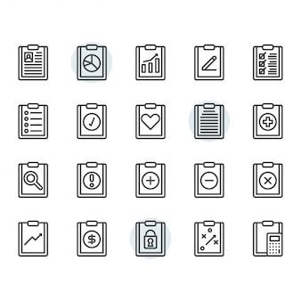 Klembord gerelateerde pictogram en symbool in overzicht