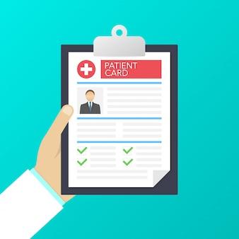 Klembord in artsenhand. maak aantekeningen op de patiëntenkaart. medisch rapport. analyse of recept. illustratie