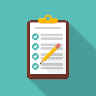 Klembord met checklist en potloodpictogram met lange schaduw