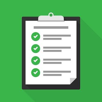 Klembord met een checklist, met succes voltooide taken. controleer succes. vectorillustratie eps 10