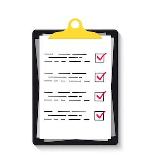 Klembord met groene vinkjes. klembord met controlelijstpictogram voor web. checklist, volledige taken, takenlijst, enquête, examenconcepten.