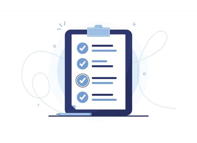 Klembord met pen. pagina met uitgevoerde werkzaamheden, voorbereiding van de vragenlijst, invullen van documenten. organisator. blauw