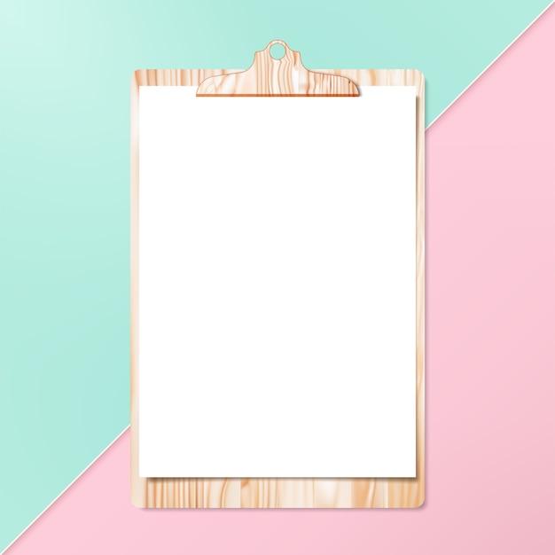 Klembord met schone cheet van papier op pastel achtergrond.