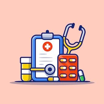 Klembord, stethoscoop, pot en pillen strip cartoon pictogram illustratie. gezondheidszorg geneeskunde pictogram concept geïsoleerde premie. platte cartoon stijl