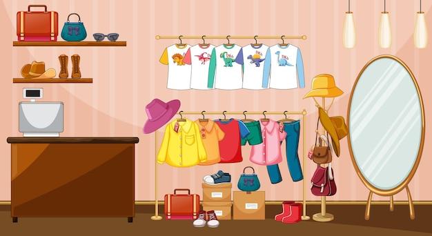 Kleren die op kledingrek met toebehoren in de kamerscène hangen