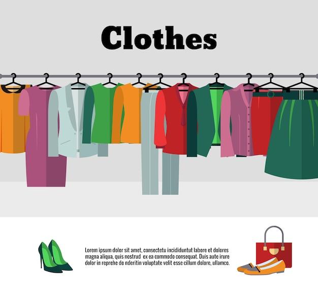 Kleren op hangersillustratie. mode kleden winkel of winkel