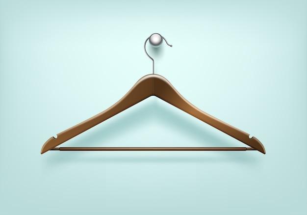 Kleren vacht bruin houten hanger close-up geïsoleerd