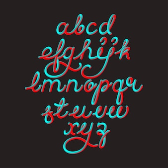 Kleur 3d alfabet vector pijp lettertype op zwarte ruimte